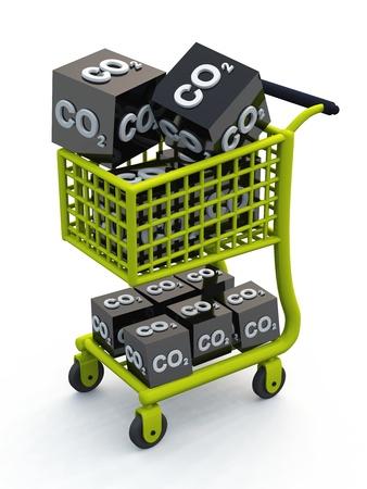 scandal: 3D CO2 shopping cart green Stock Photo