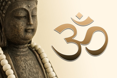 ZEN Buddha with Mala chain and OM Sign photo