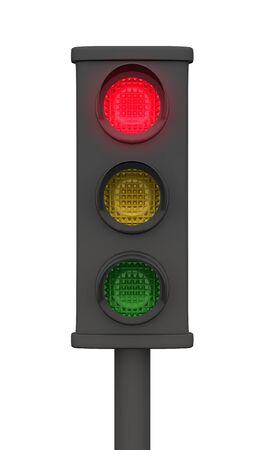 Rote 3D Ampel - Freigestellt Schwarz photo