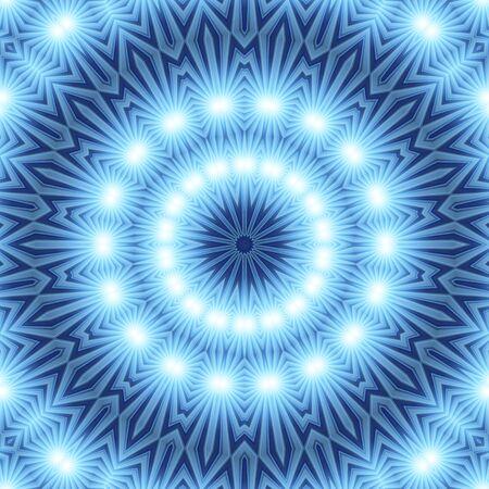 esot�risme: Bleu blanc Mandala de lumi�res Banque d'images