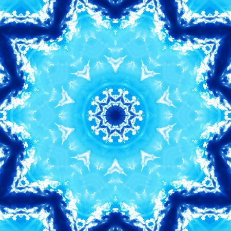 futuristically: Blue white Mandala for enlightenment