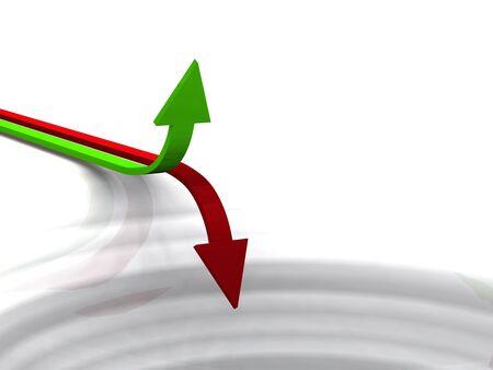 crisis economica: 3D de las flechas rojo y verde sobre fondo blanco