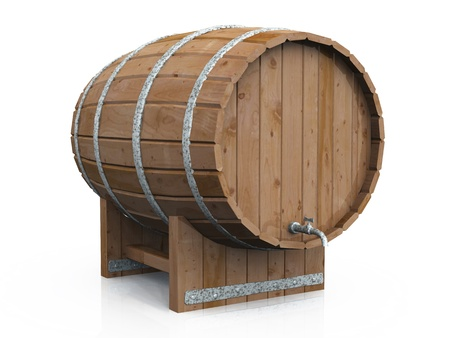 beer barrel: 3D barrel on white background