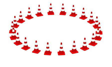 driving range: 3D Cones red and white Stock Photo