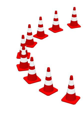 manufacturers: 3D Cones red and white Stock Photo
