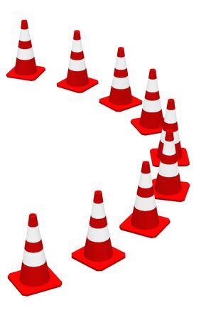 demarcation: 3D Cones red and white Stock Photo