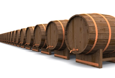 beer garden: A row of 3D Barrels