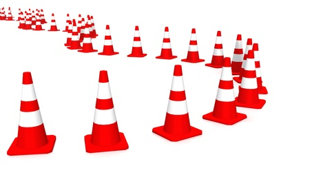 delimitation: 3D Cones red and white Stock Photo