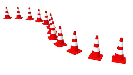 3D Cones red and white Stock Photo