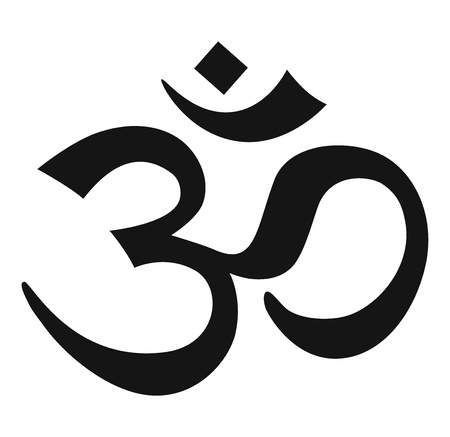 hinduismo: Signo de AUM negro sobre fondo blanco