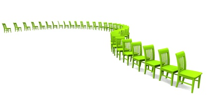 contributors: green 3D chairs on white background