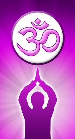 meditating man with om sign photo