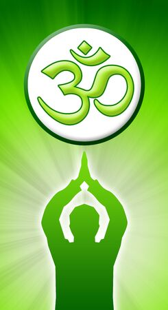 meditating man with om sign Stock Photo - 8565160