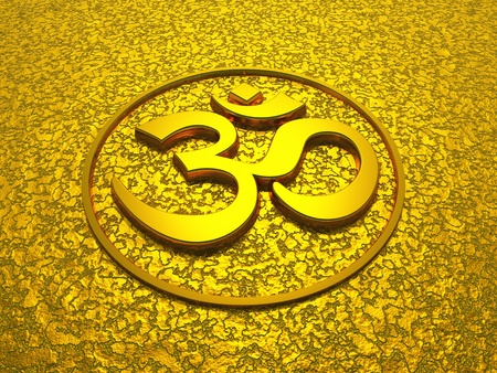 3D Golden om sign photo