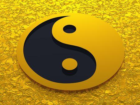 reiki symbol: 3D yin an yang symbol