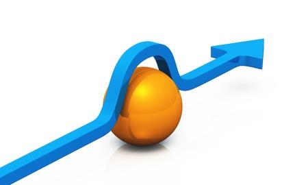 Freccia blu con palla arancia