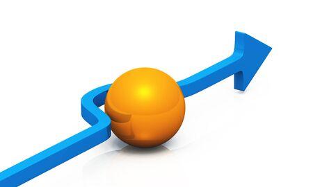 Blue arrow with orange ball Stock Photo - 8565152