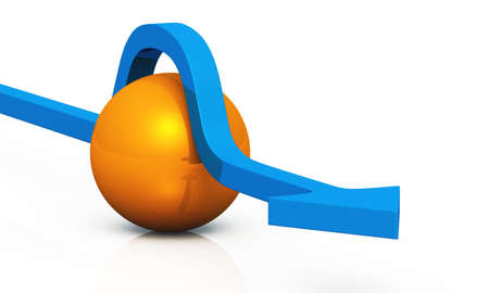 abstractly: Blue arrow with orange ball