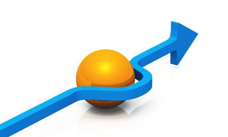 Blue arrow with orange ball photo