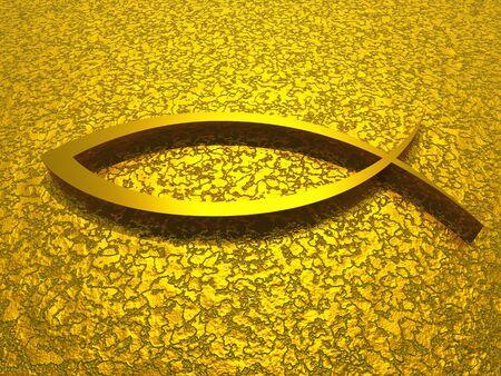 3D sign on golden texture Stock Photo - 8602441