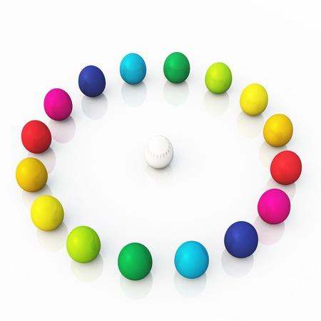 3D eggs in a circle photo
