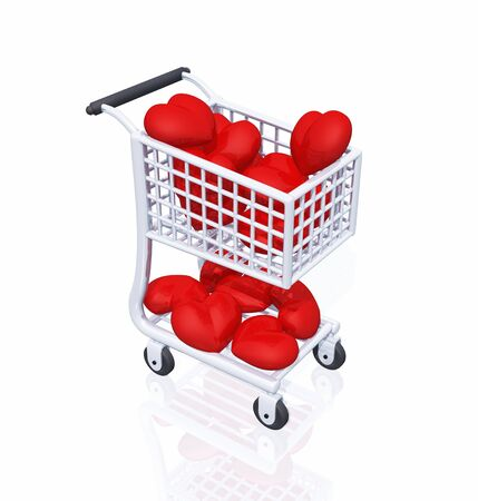 3D cart with a lot of red hearts Stock Photo - 8616152