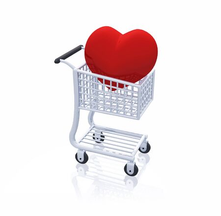3D cart with a big red heart Stock Photo - 8616150