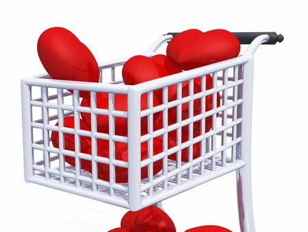 3D cart with a lot of red hearts Stock Photo - 8616153