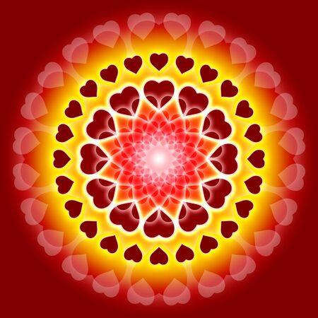 oneness: Mandala con un sacco di cuori