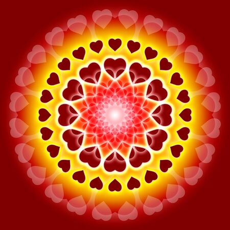 tantra: mandala with a lot of hearts