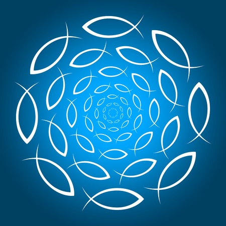 a circle of fish symbols Stock Photo