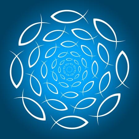 deeksha: a circle of fish symbols Stock Photo