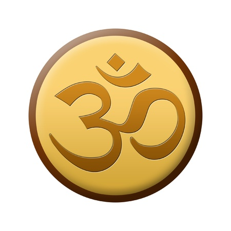 ohm symbol: golden brown om sign isolated