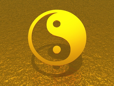 enlightenment: 3D symbol on golden background