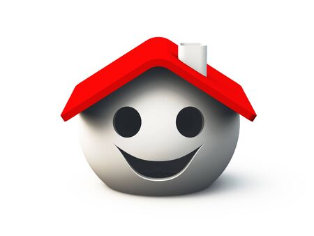 logo batiment: maison souriant sur fond blanc