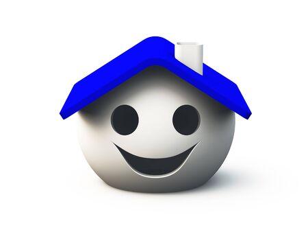 Lächelnd Haus auf weissem Grund Standard-Bild - 8730468