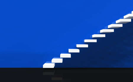 white 3D stairs on blue wall photo