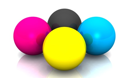four color printing: 3d balls for printing