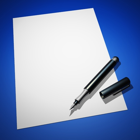 black pen with white paper on blue ground photo