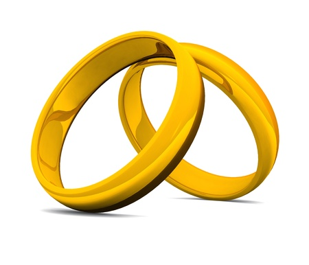 two golden rings on white ground Stock Photo - 8730522