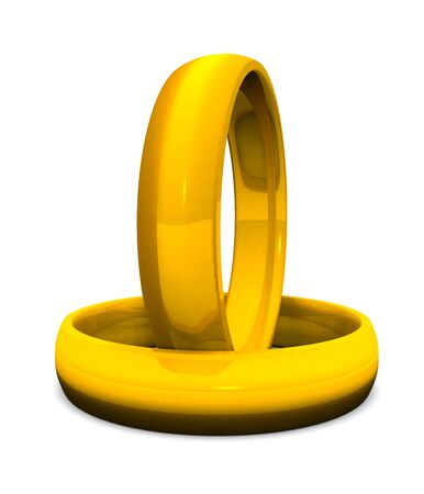 two golden rings on white ground Stock Photo - 8730521
