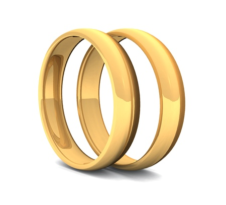 two golden rings on white ground Stock Photo - 8730520