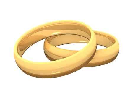 two golden rings on white ground Stock Photo - 8730475