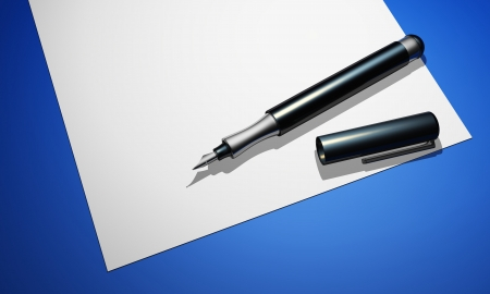 black pen with white paper on blue ground