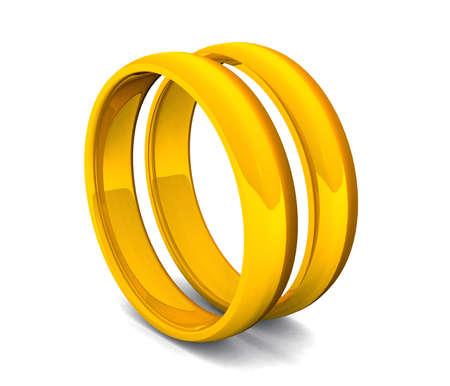 two golden rings on white ground Stock Photo - 8730523