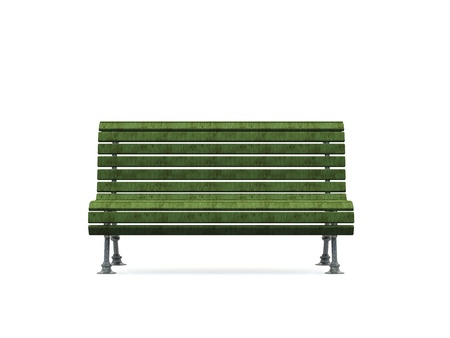 3d park bench on white background