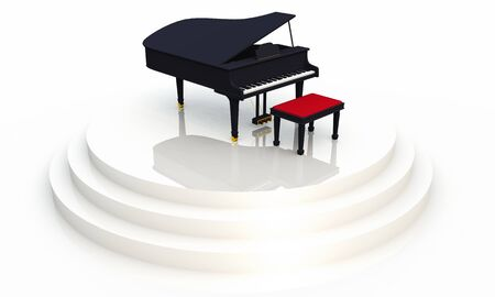 instruct: 3D piano on white background