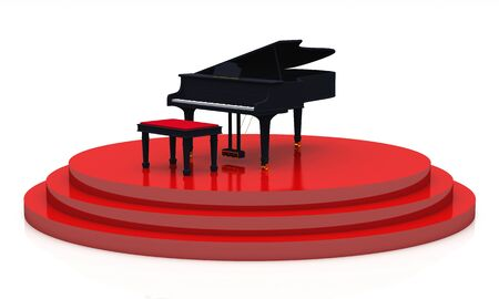 unfold: 3D piano on red stage Stock Photo