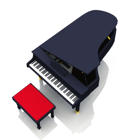 unfold: 3D piano on white background