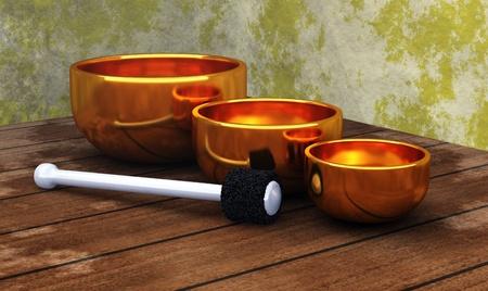 golden singing bowls photo